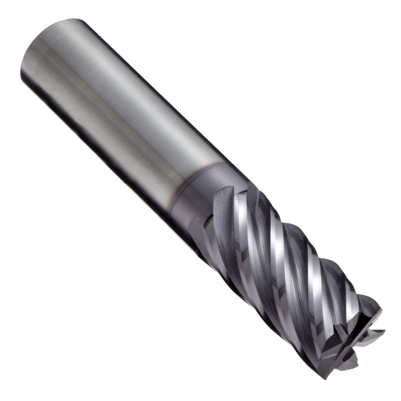 "Carbide Square Nose End Mill, TIALN Multilayer Finish, 40 Deg Helix, 6 Flutes, 3"" Overall Length, 0.5"" Cutting Diameter, 0.5"" Shank Diameter"