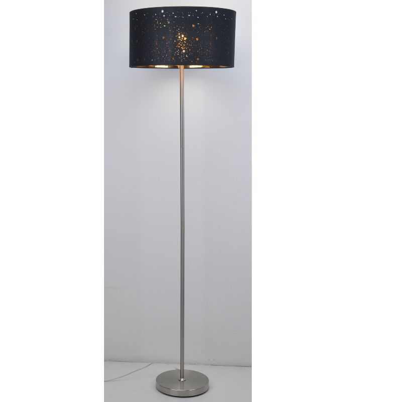 Floor lamp with laser cut black fabric shade