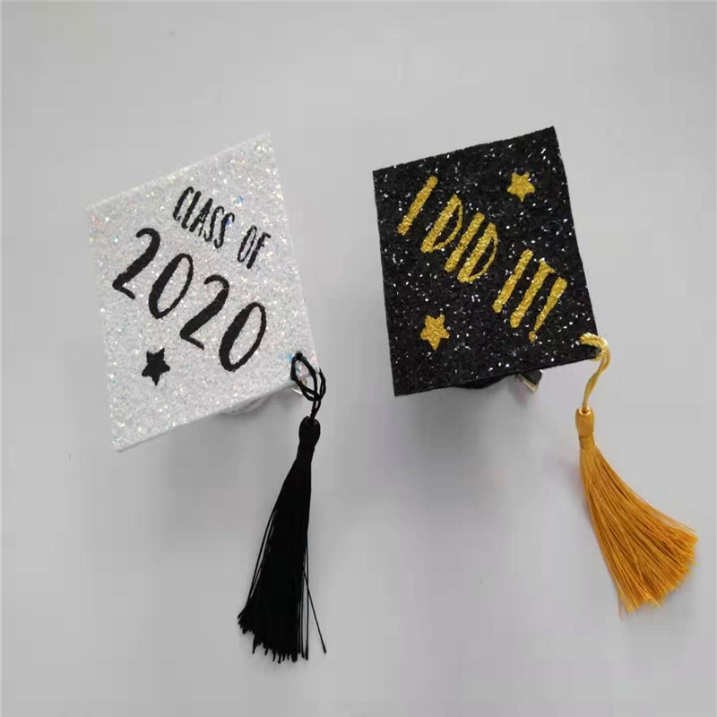 White Grad Cap with Difference Color Glitter Graduation Party Hat