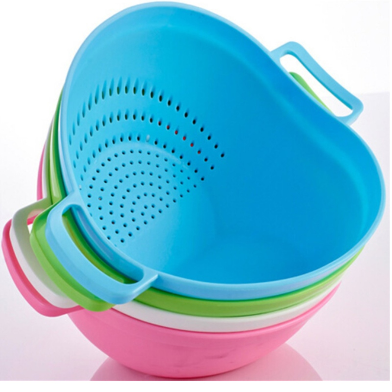 Silicone water-draining basket kitchen practical drain basket double handle Taomi basket fruit and vegetable basket