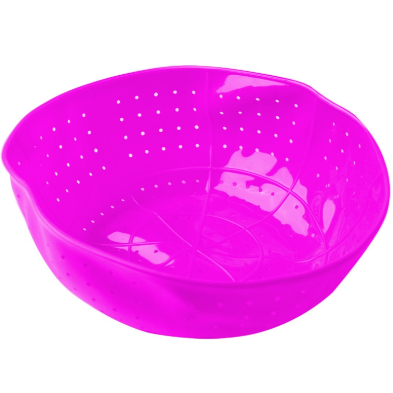 Silicone multifunctional leaky basket fruit basket steamed vegetable washing basket with silicone asphaltener