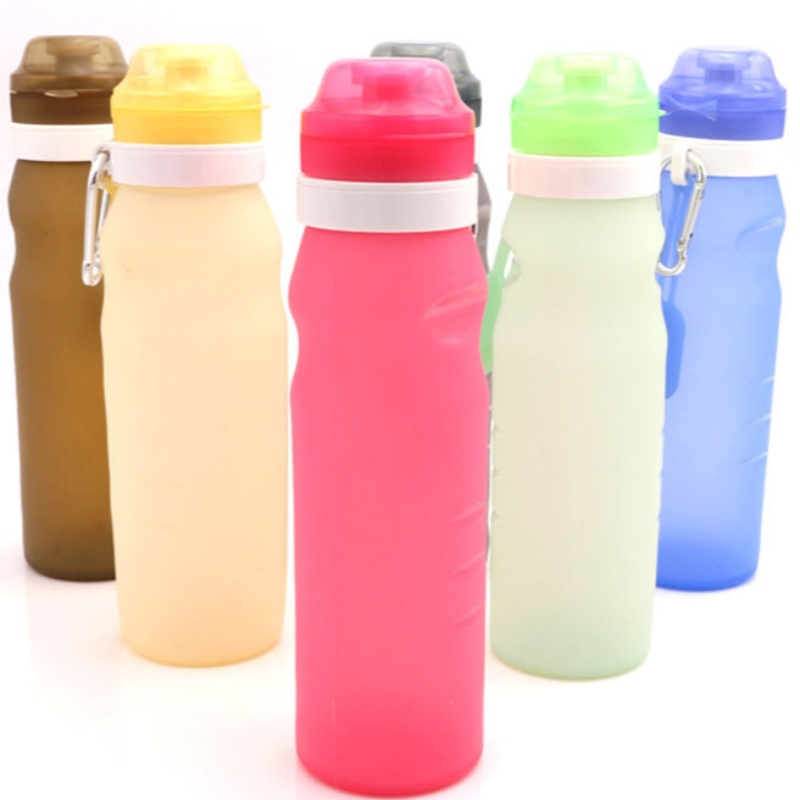 Silicone water bottle folding water bottle silicpone discoloration cup folding cup travel folding kettle