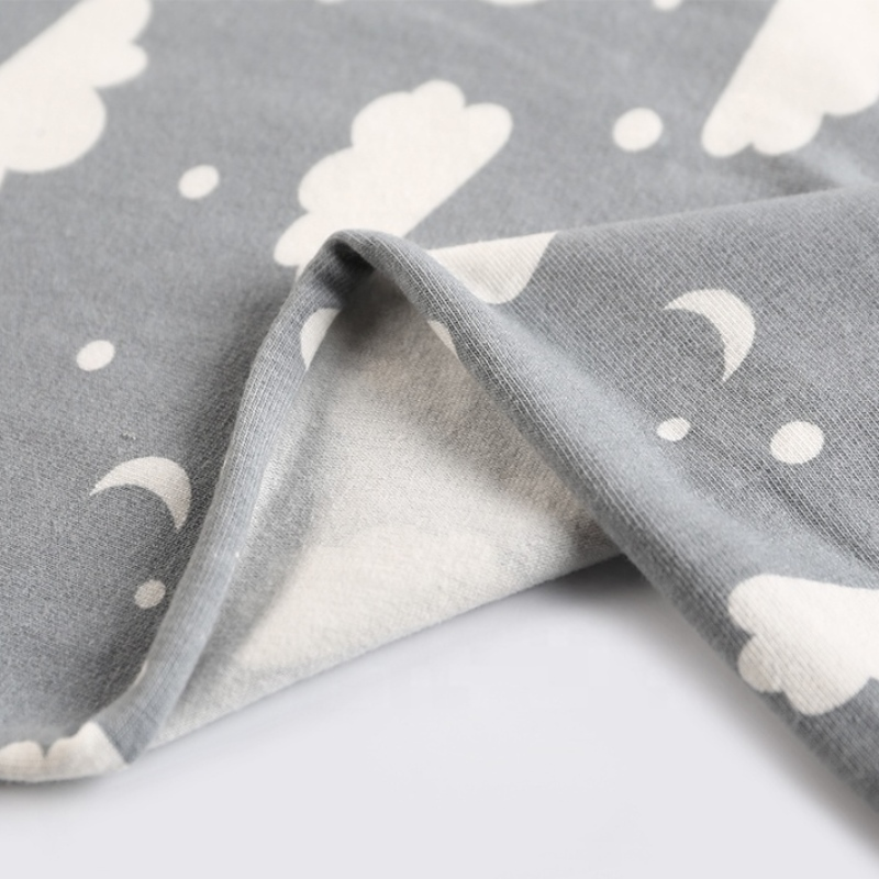 Single jersey cloud print 100% combed cotton jersey knit sweat suit baby clothing fabric