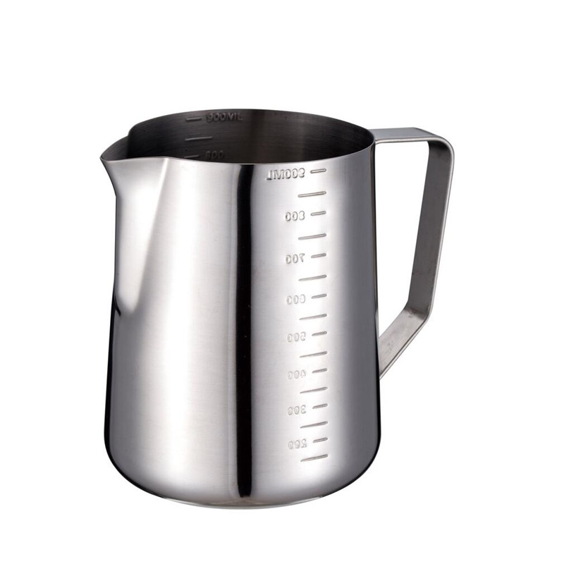 hot sell latte art milk pitcher with 350 / 600 / 900 ml with measurement scales