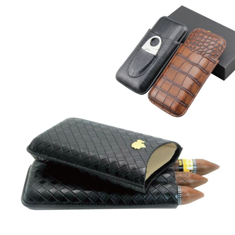 Travel 3 counts Portable Leather Cigar Case