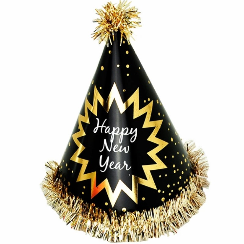 Happy New Year Foil Fringed Cone Hats Paper with Glitter