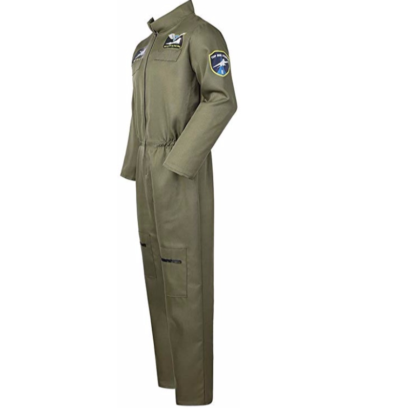 Men's Air Force Fighter Pilot Jumpsuit Flight Suit Costumes for Adults with Embroidered Patches and Pockets