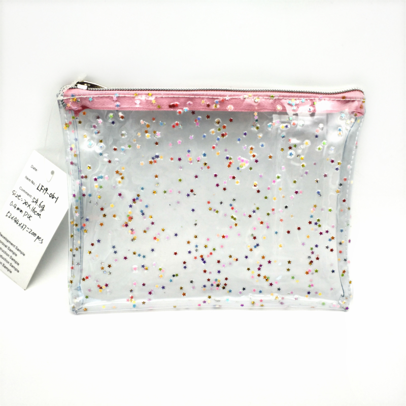 PVC cosmetic pouch with glitter paillette