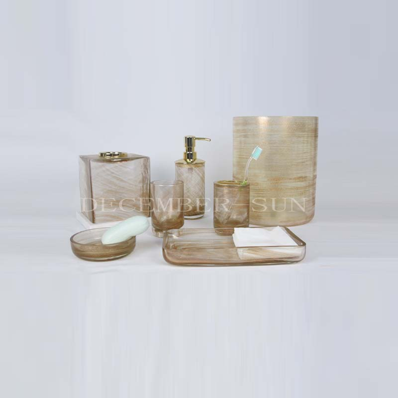 glass bathroom accessories set with metal pump