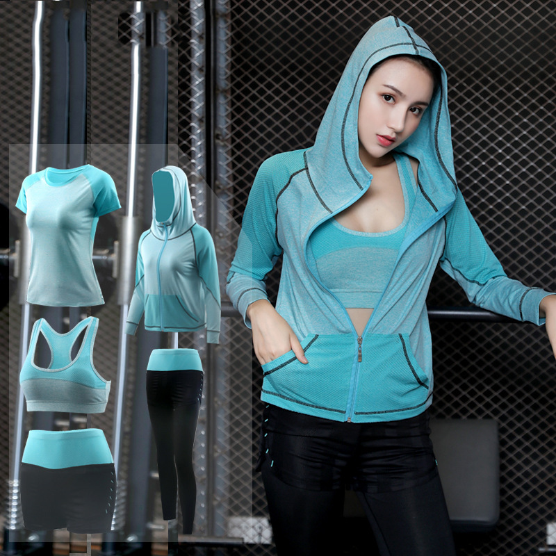 FDMF002- Women's 5pcs Sport Suits Fitness Yoga Running Athletic Tracksuits
