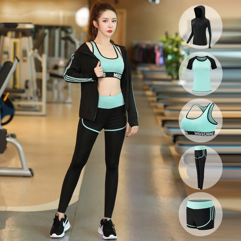 FDMF003- Women's 5pcs Sport Suits Fitness Yoga Running Athletic Tracksuits