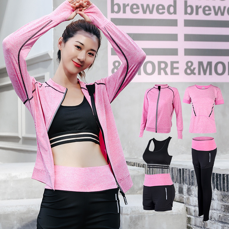 FDMF004- Women's 5pcs Sport Suits Fitness Yoga Running Athletic Tracksuits