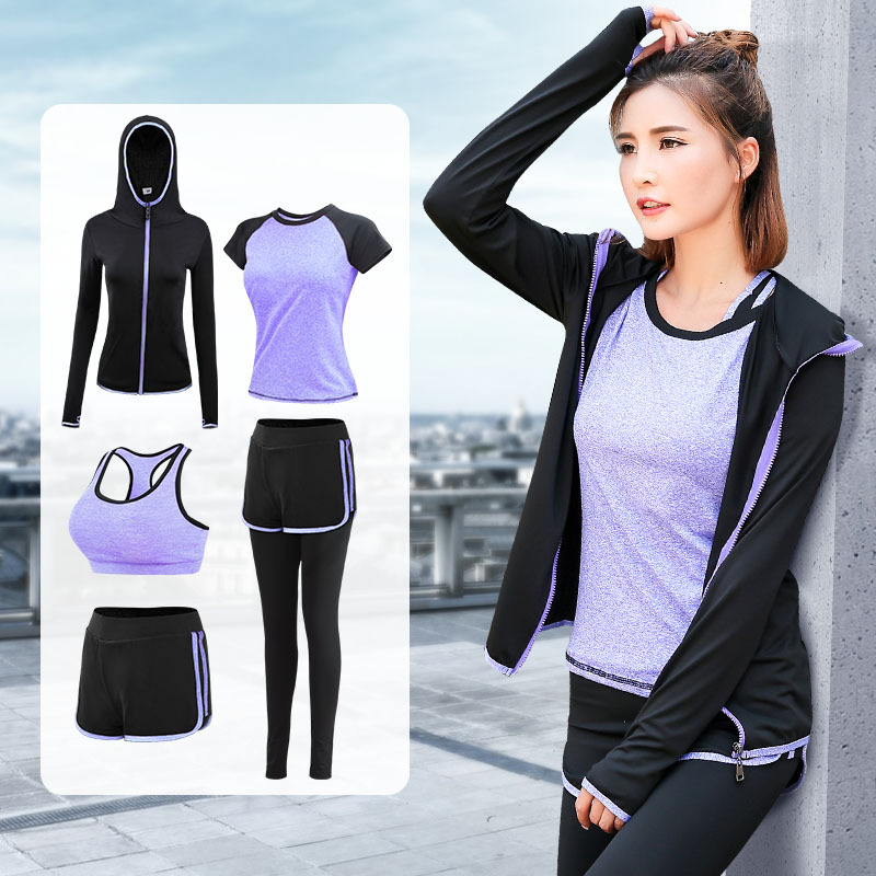 FDMF005- Women's 5pcs Sport Suits Fitness Yoga Running Athletic Tracksuits