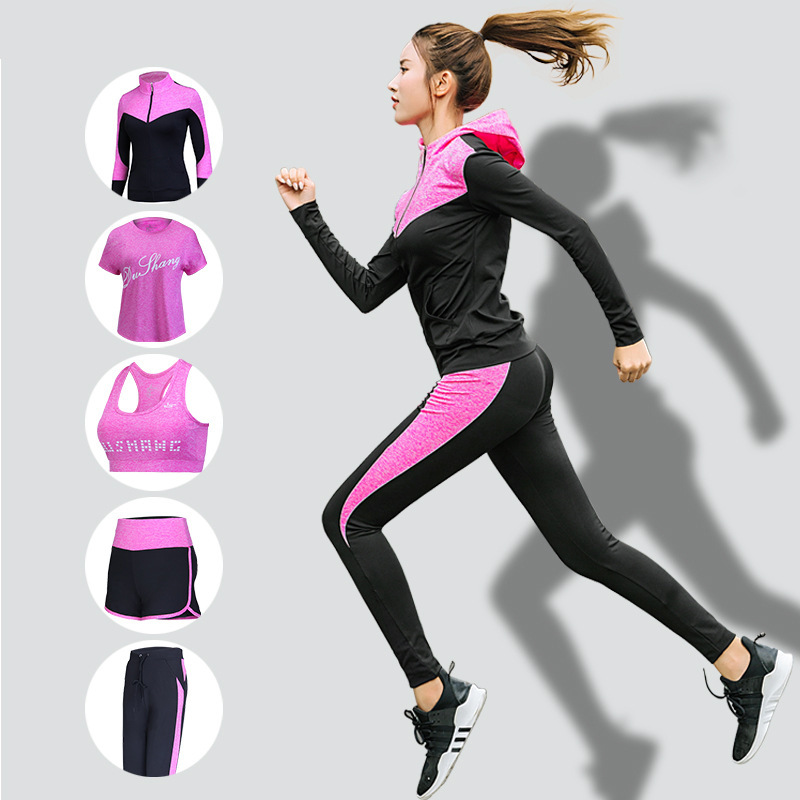 FDMF008- Women's 5pcs Sport Suits Fitness Yoga Running Athletic Tracksuits
