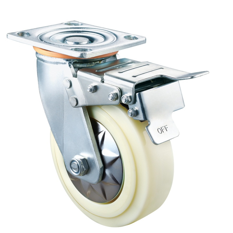 Heavy Duty - Chrome plated housing with white2 TPE wheel