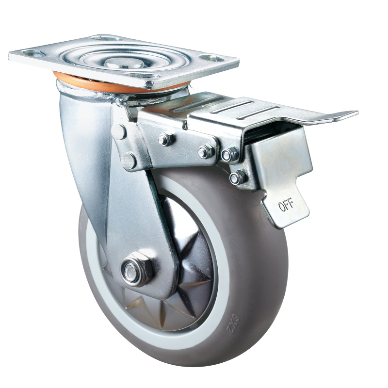 Heavy Duty - Chrome plated housing with gray TPE wheel