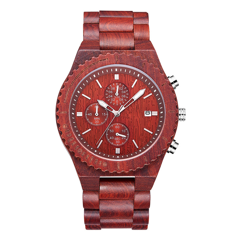 Red Sandalwood Waterproof Watch with Date Display Fashion Quartz Watches