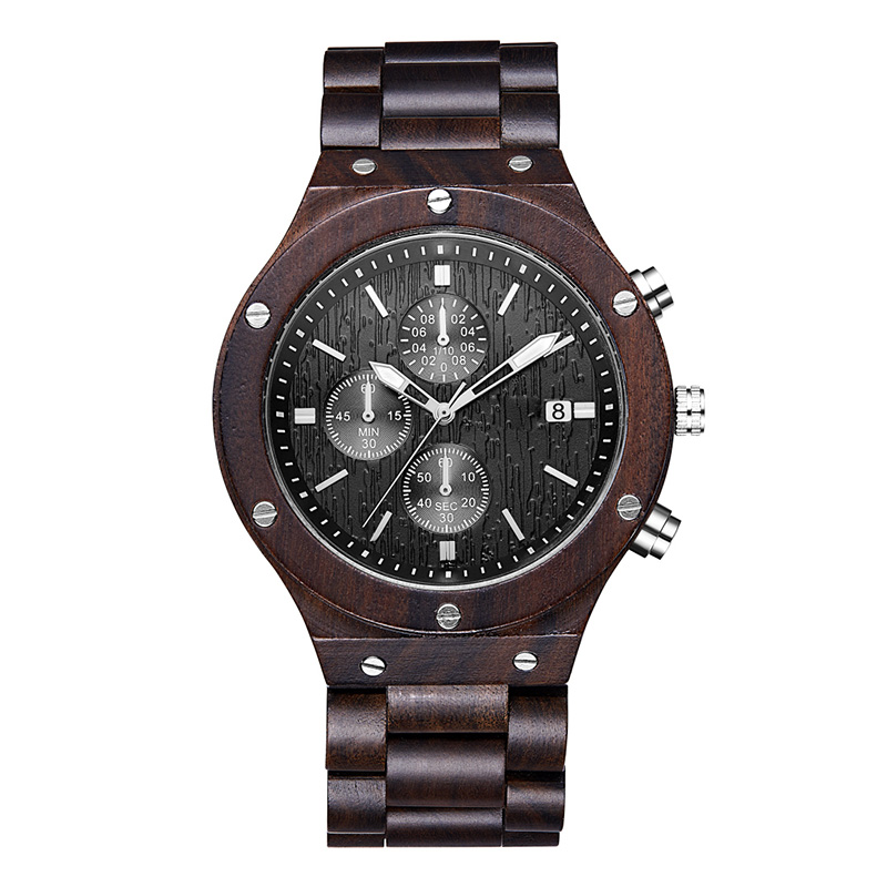 Hight-end Boutique Leisure Unisex DIY Natural Men Women Black Sandal Wood Watch
