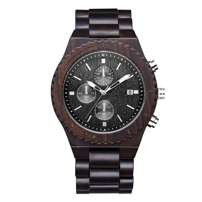 Wooden Watch Men's Chronograph Black Multifunction Eco-friendly Natural Wood Watch