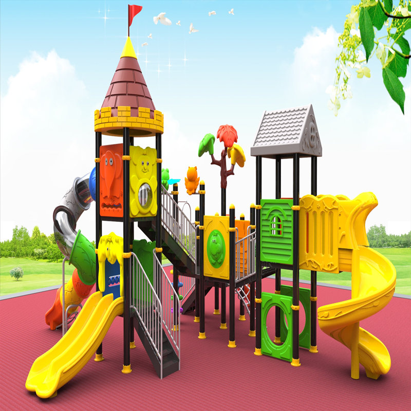 outdoor playground equipment with children slide kids toys house game