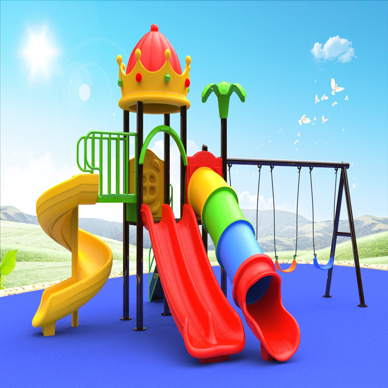 outdoor crown roof play house playground equipment with kids swing slide game for children