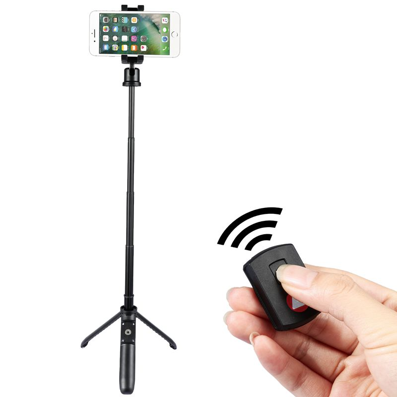 KINGJOY 5 sections Mini Selfie Stick with folding leg to change to tripod with bluetooth control