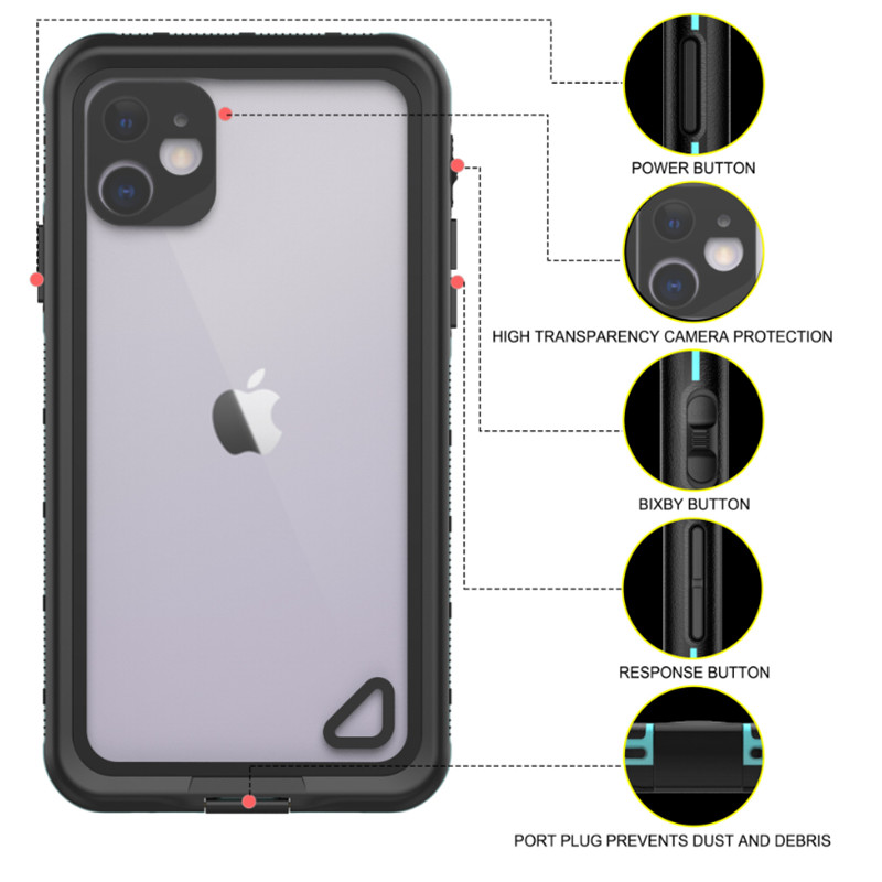 New pc+tpe+pet waterproof dustproof snowproof Phone Accessories Case for iphone 11( blue) transparent back cover