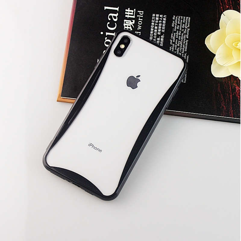 Colorful curved edge mobile phone case for iPhone X/XS with phone strap holes and anti-dust plug