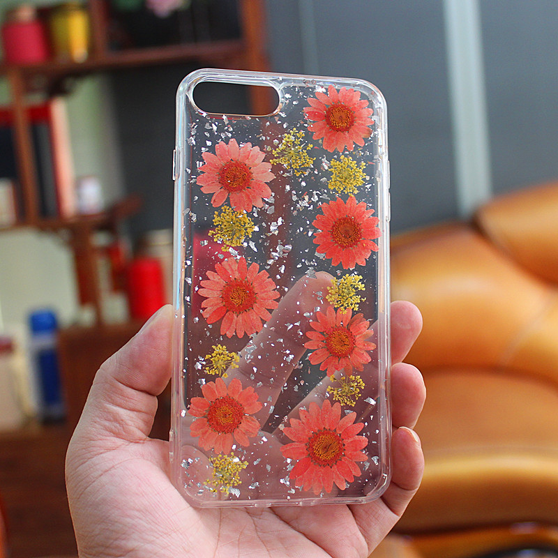 TPU+ PC glittery drops glue mobile phone case with inner flower by hand made for iPhone 6 Plus/7 Plus/8 Plus