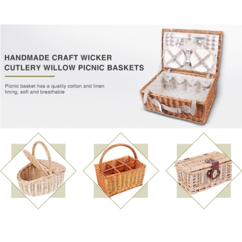 Handmade Craft Wicker Cutlery Willow Picnic Baskets