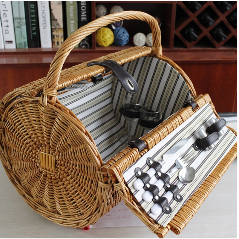 Round Shape Willow Woven Picnic Basket