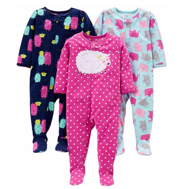 Carter's Baby and Toddler Girls' 3-Pack Loose Fit Fleece Footed Pajamas Sleepwear