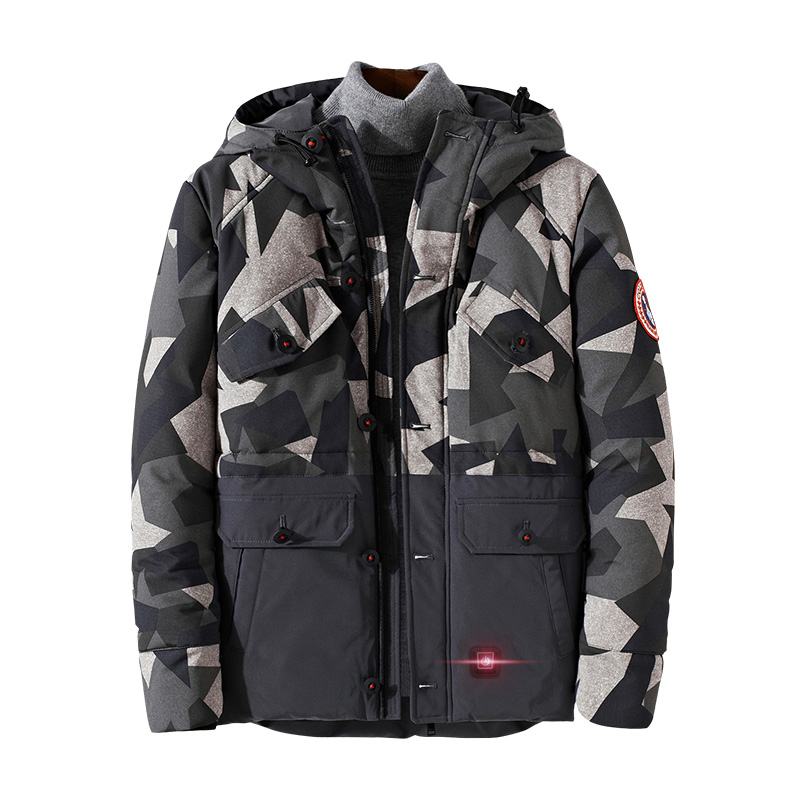 Winter Custom USB Battery Bluetooth Safety Hunting Heated Jacket 7.4V or 12V Heated Coats and Warm Clothing