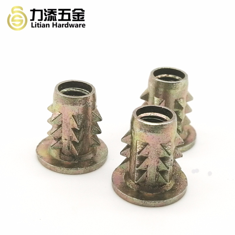Customized differ sizes zinc alloy thorn insert nut for furniture