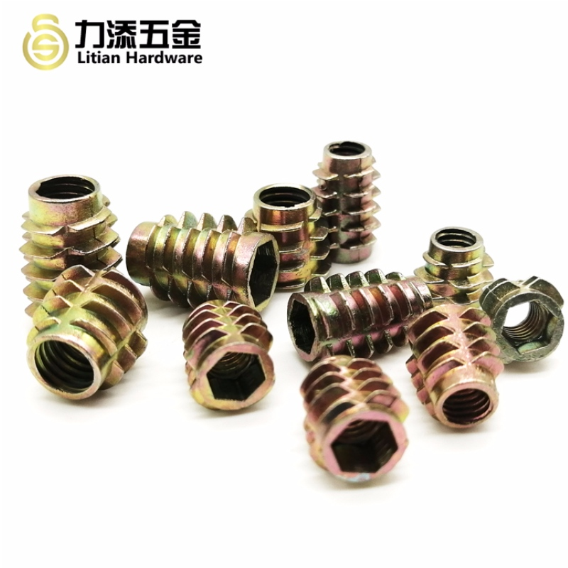 Customized zinc alloy differ size wood insert nut for furniture