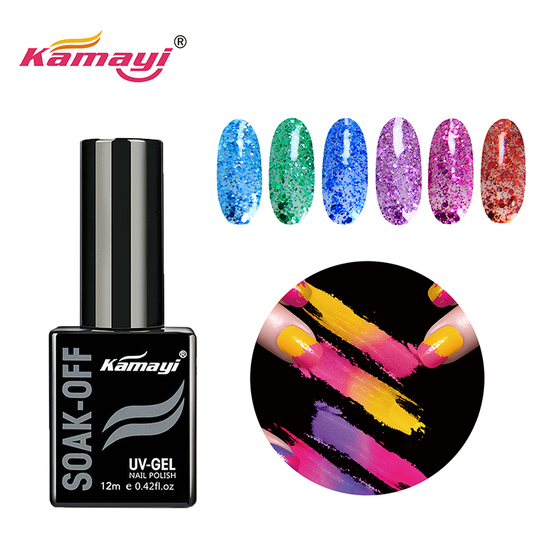 Kamayi high quality factory price nail art wholesale kamayi 400 colours soak off uv nail gel polishes Sequins gel polish