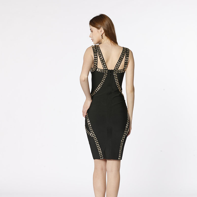 High quality new style hand made  rivets black off shoulder slim bodycon sexy night club bandage dress