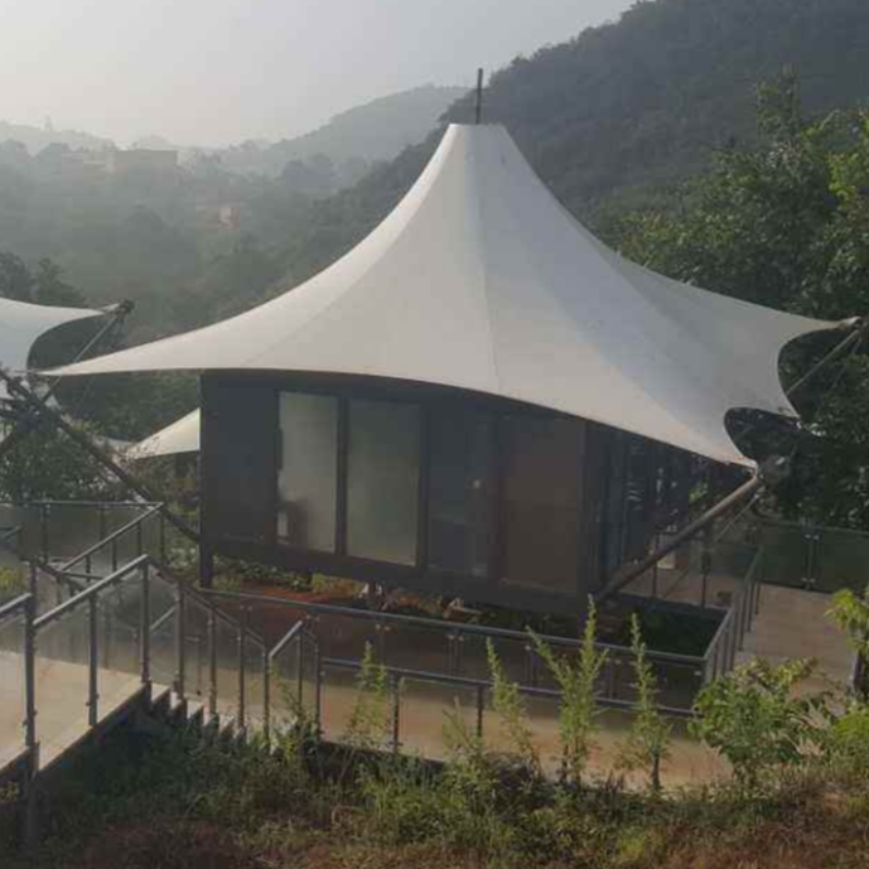 Prefab Easy To Install Big Size Metal PVDF Fabric Structure Glamping Houses Tent For Hotel In China