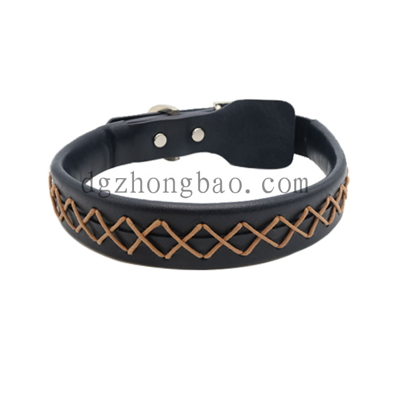 Black leather and hand stitching pet collar for dogs