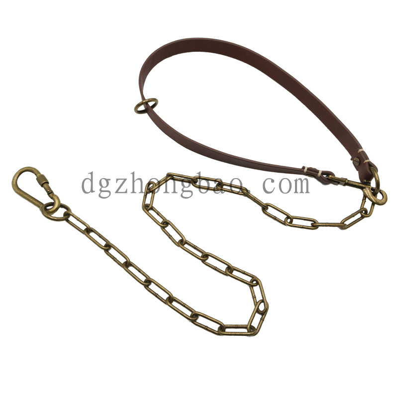 Hardware chain with leather pet leash