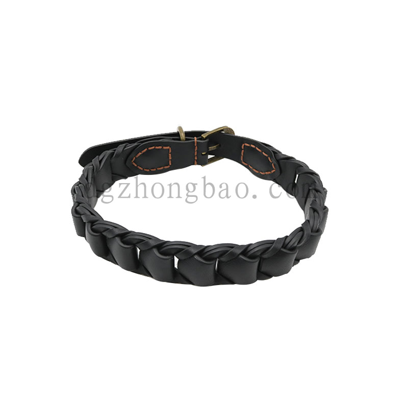 Black leather braided  pet collar for dogs