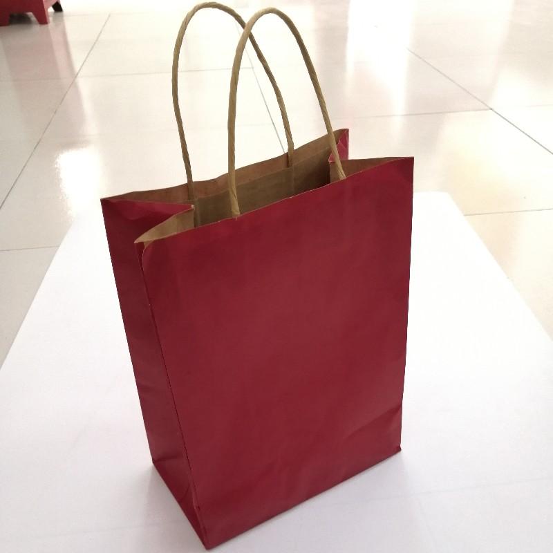 Multi-color brown paper bag custom colored kraft paper bag with handle