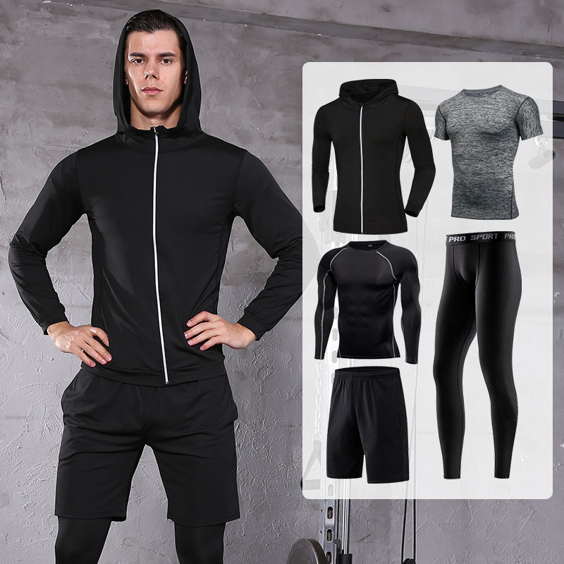 FDMM021-5 Pcs Men's Workout Clothes Set Fitness Suit Sportswear
