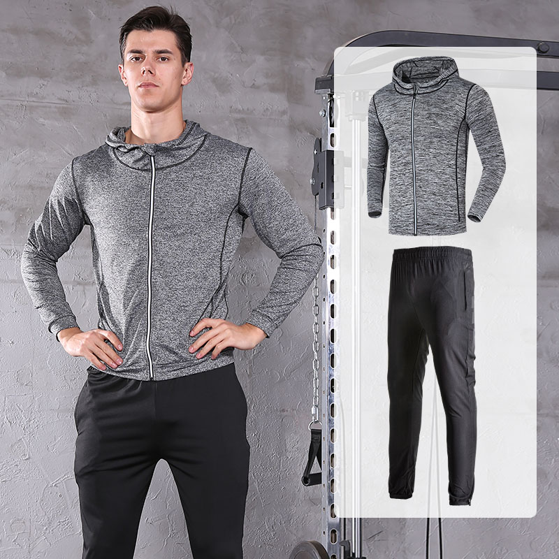FDMM022-Men's Sports Running Set Outwear Hoodie+ Pants