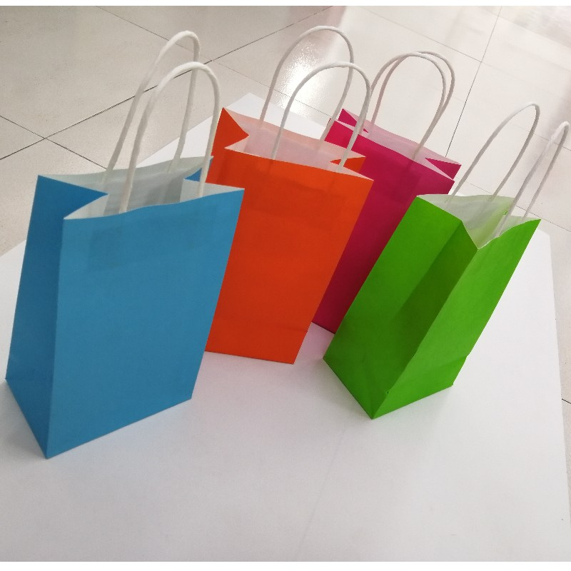 Eco Recycle Bag Take Away Food Packaging Brown Craft Paper Bag With Handles