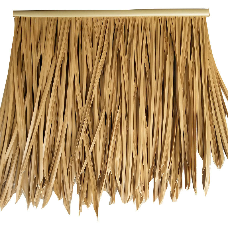 PVC PE fireproof pvc artificial thatch roof synthetic viro thatch roofing material Simulated Straw