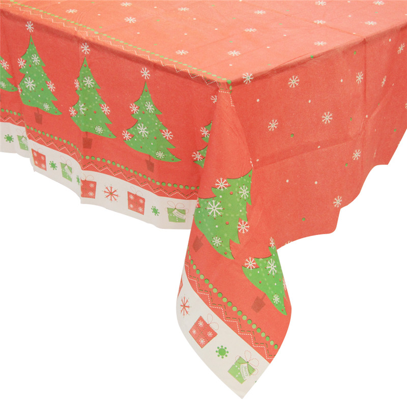 Christmas day Plastic tablecloth waterproof heat resistant checkered pvc table cover red color customized