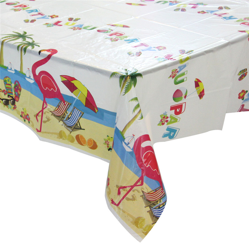 Summer Time Clear Printed Tablecloth PVC Tablecover