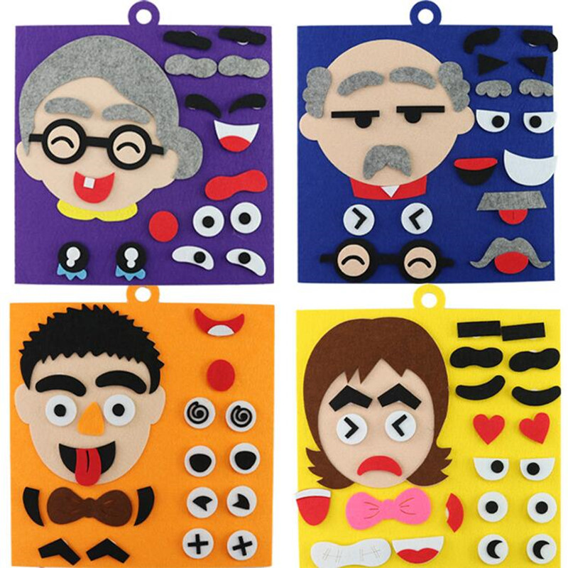 Soft Felt Early Education Diy Craft Non-woven Fabric Felt Face Decoration Puzzle For Kids