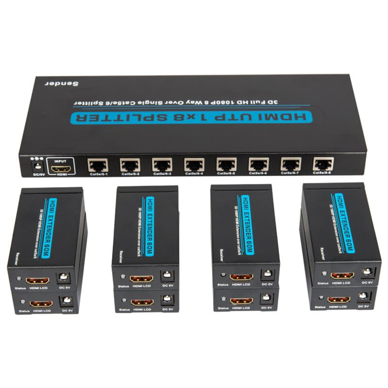 8 Ports HDMI UTP 1x8 Splitter Over Single Cat5e/6 With 8 receivers up to 60m